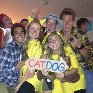 JMU students dressed in CatDog costume