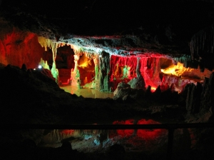 Colorful stalagmites and stalactites at the Grand Caverns.