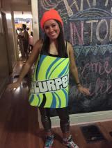 JMU student dressed in Slurpee costume