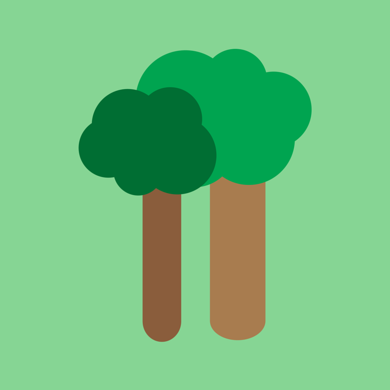 two trees w/ green background