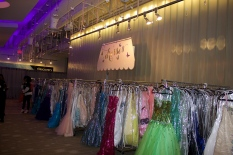 Prom dresses on racks at the Say Yes to the Prom event in Silverspring, Maryland.