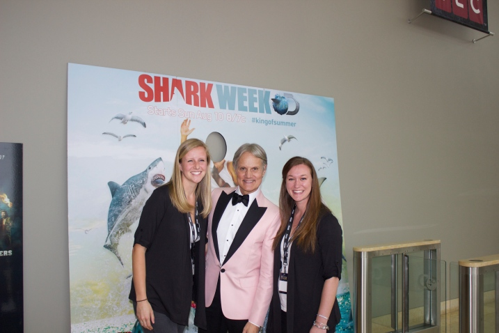 Erin Greene and Molly Hoffmaster pose with Monte Durham from Say Yes to the Dress Atlanta.