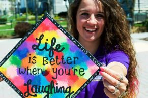 """tie-dye cap with words """"Life is better when you're laughing"""""""