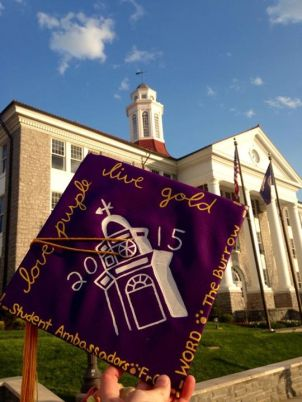 love purple, live gold, with a picture of wilson hall