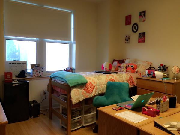 A decorated dorm room