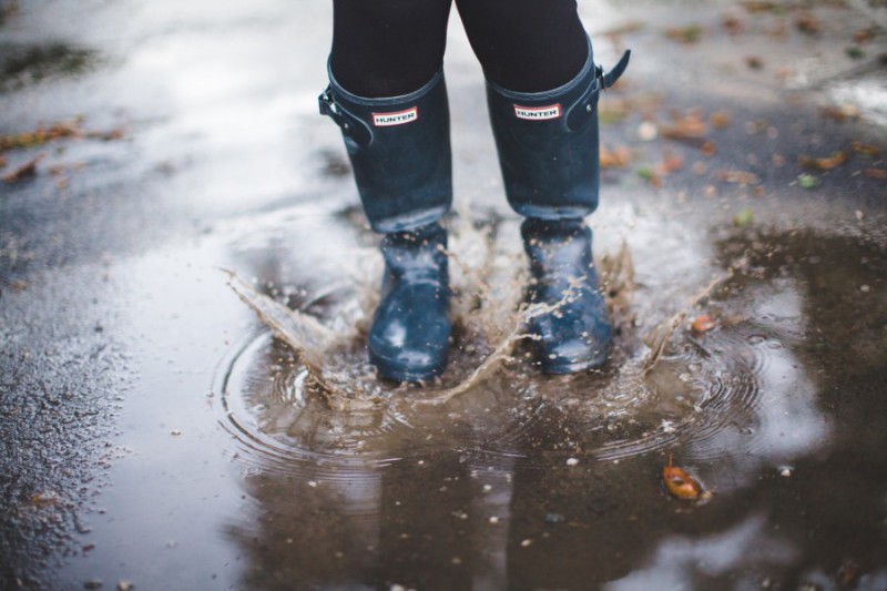Rain boots spashing in puddle
