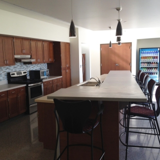 The communal kitchen on the first floor of the dorm.