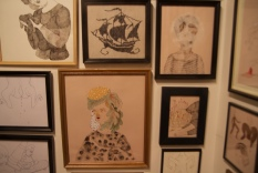 The show had many smaller drawing and illustrations, including some embroidery