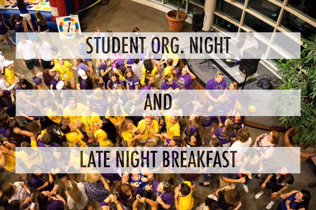 "An image of students inside Festival, with the words ""Student Org Night and Late Night Breakfast"" on top."