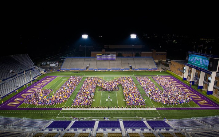 JMU letters in Bridgeforth Stadium