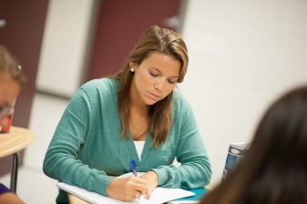 Classroom stock photos. Students doing group work in Harrison Hall.